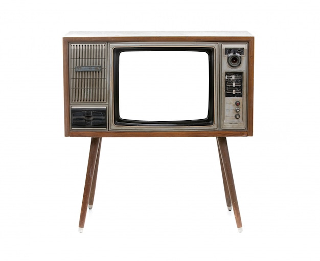 Vintage tv isolated on white
