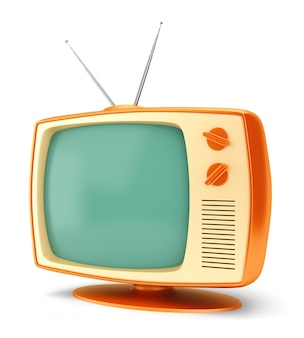 Vintage tv set on white