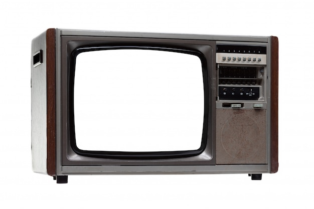 Vintage tv with white blank screen isolated on white .