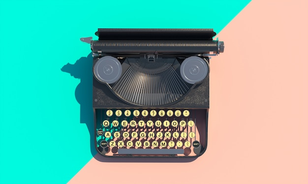 Vintage typewriter on a flat lay bicolor background.