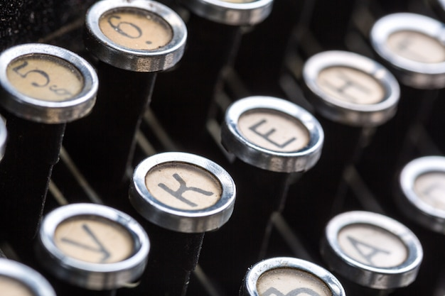 Vintage typewriter keys closeup