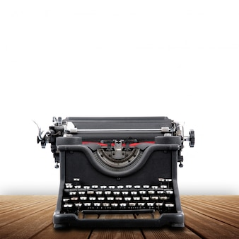 Vintage typewriter on white background