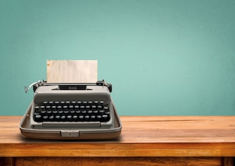 Vintage typewriter with old paper retro machine technology