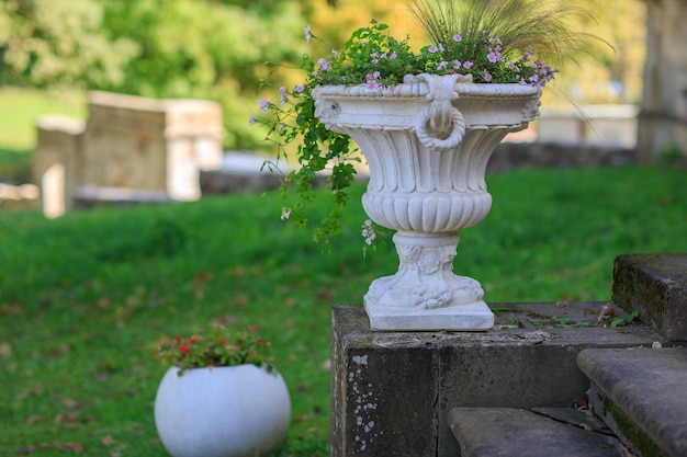 庭の花とヴィンテージの花瓶