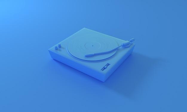 青い背景のdjターンテーブルにヴィンテージビニールレコードパステル音楽を再生するレトロなサウンドテクノロジー