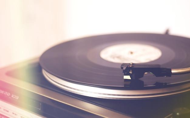 Vintage vinyl record player closeup, turntable
