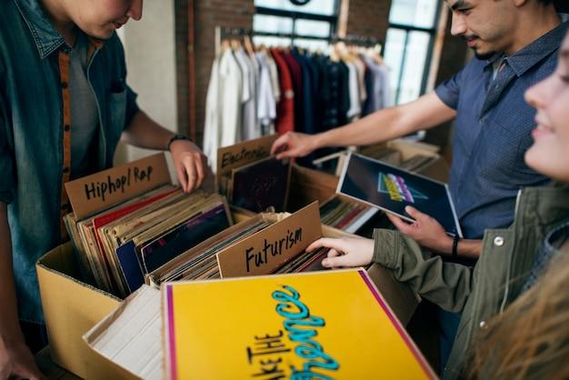 Vintage vinyl record shop