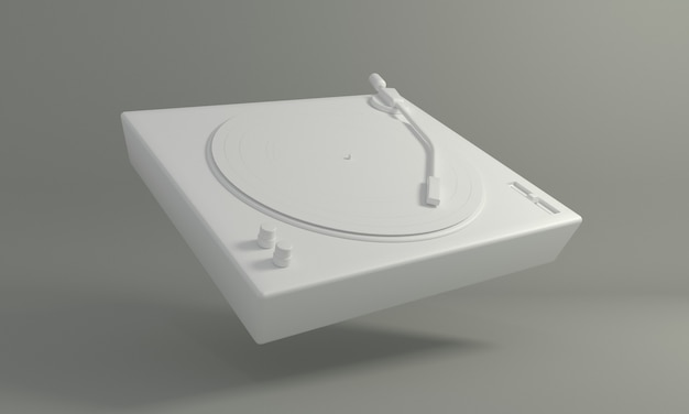 灰色の背景のdjターンテーブルに白のビンテージビニールレコード音楽を再生するためのレトロなサウンドテクノロジー
