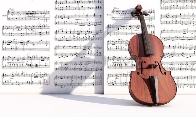 Винтаж альт на нотах фоне 3d визуализации