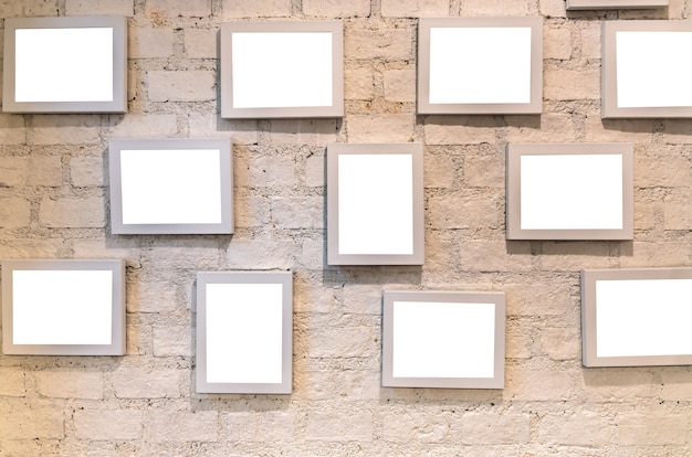 Vintage wall background with photo frame, interior gallery