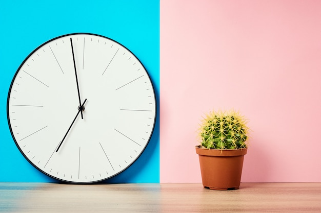 Vintage wall clock and cactus in pot on a pink and blue pastel background