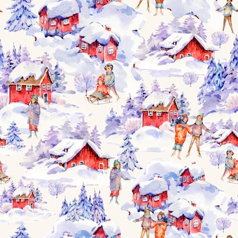 Vintage watercolor christmas seamless pattern in scandinavian style of winter red houses covered with snow, people sledding