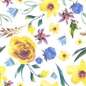 Vintage watercolor floral seamless pattern with wildflowers