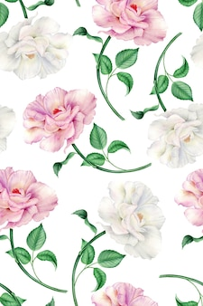 Vintage watercolor pattern with realistic white and pink roses