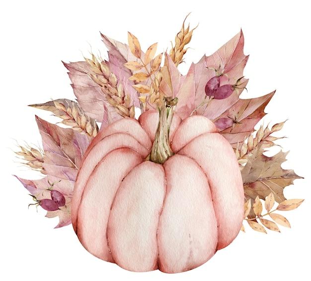 ビンテージ水彩感謝祭イラスト。秋の紅葉と小麦の耳を持つ手描きのピンクのカボチャ。