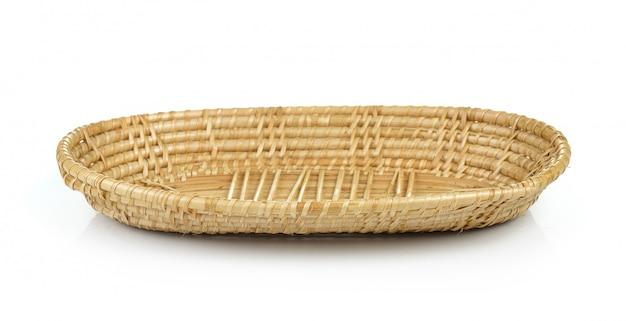 Vintage weave wicker basket on white wall