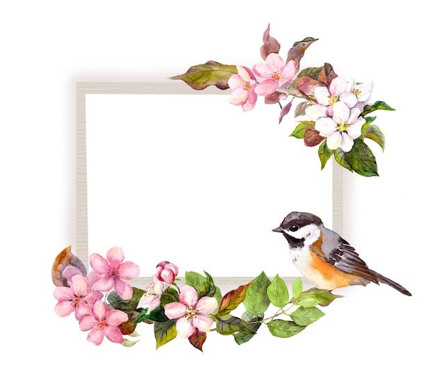 桜の花、かわいい鳥とビンテージのウェディングカード。保存日付テキストの水彩画フレーム