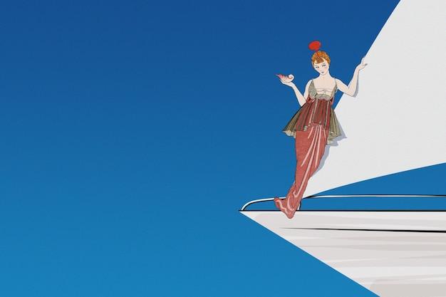 Винтажная женщина на фоне парусной лодки, сделанная по мотивам произведений джорджа барбье