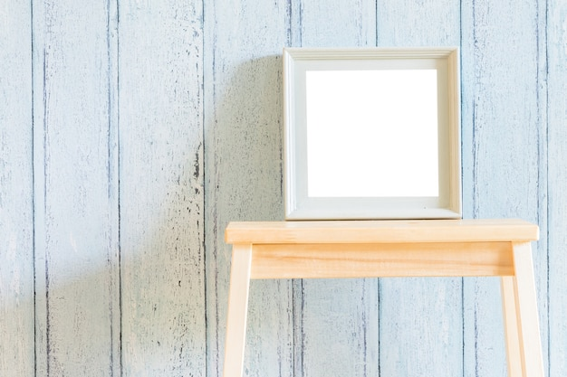 Vintage wood blank photo frame with summer concept design