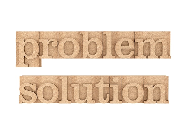 Vintage wood type printing blocks with problem and solution slogan on a white background