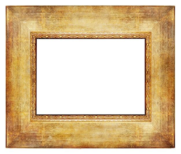 Винтажная деревянная пустая рамка с золотыми границами, изолированные на белом