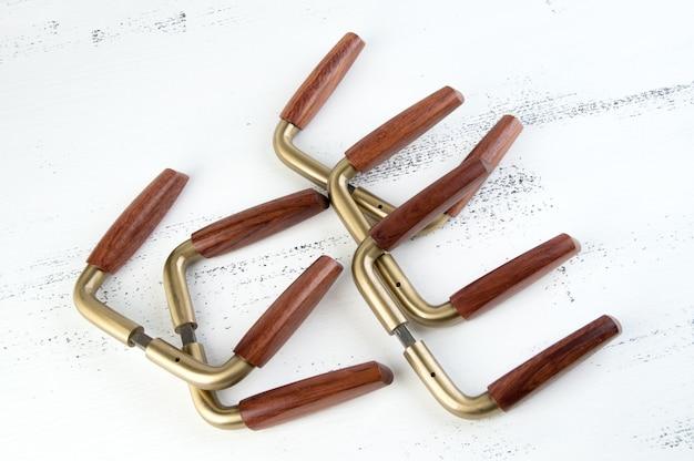 Vintage wooden brass door handles