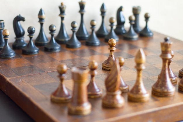 Vintage wooden chess pieces