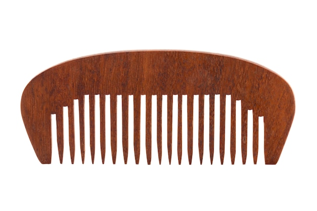 Vintage wooden comb isolated on white.