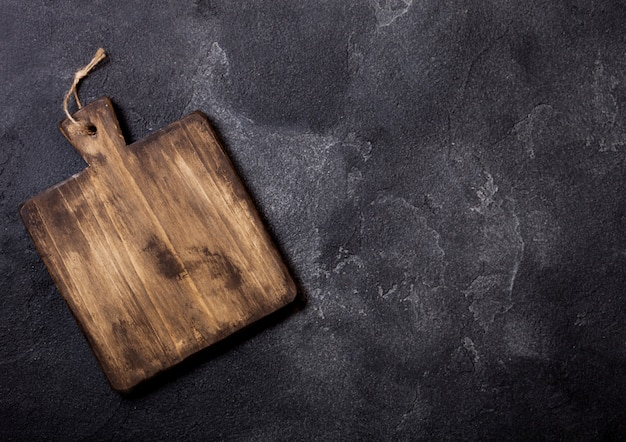 Vintage wooden cutting board. kitchen cooking concept.