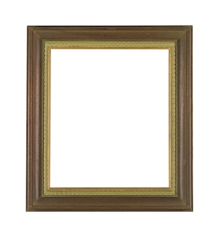 Vintage wooden frame for painting or picture isolated on a white wall