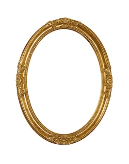 Vintage wooden golden oval picture frame isolated