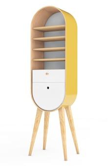 Винтажный деревянный кухонный шкаф на белом фоне. 3d рендеринг