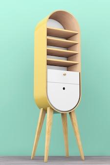 Винтажный деревянный кухонный шкаф на деревянном полу. 3d рендеринг