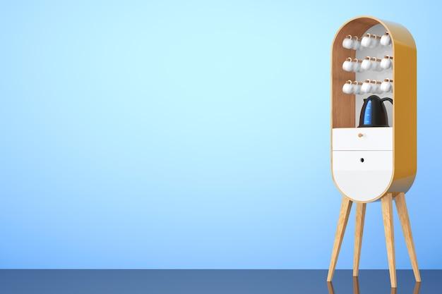 Винтажный деревянный кухонный шкаф с чайником и чашками на синем фоне. 3d рендеринг