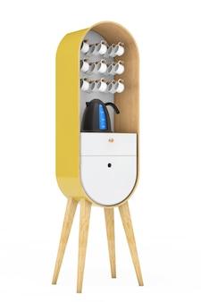 Винтажный деревянный кухонный шкаф с чайником и чашками на белом фоне. 3d рендеринг