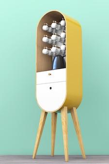 Винтажный деревянный кухонный шкаф с чайником и чашками на деревянном полу. 3d рендеринг