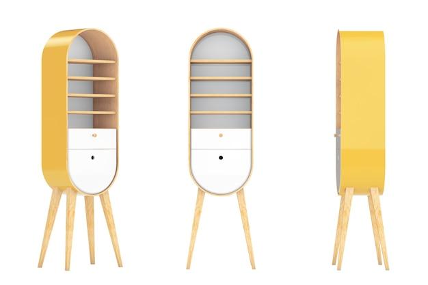 Винтажные деревянные кухонные шкафы на белом фоне. 3d рендеринг