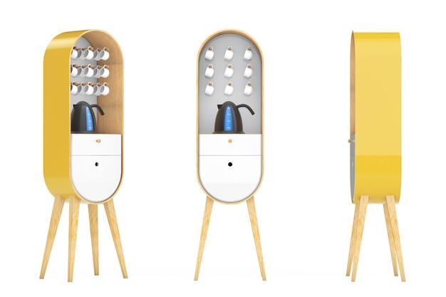 Винтажные деревянные кухонные шкафы с чайником и чашками на белом фоне. 3d рендеринг