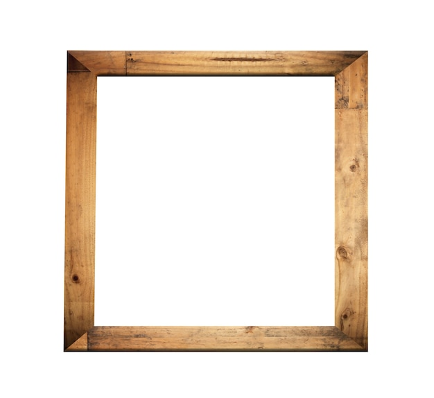 Vintage wooden photo frame isolated on white background and have clipping paths.