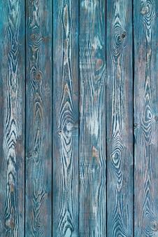 Vintage wooden planks painted in cyan blue vertical