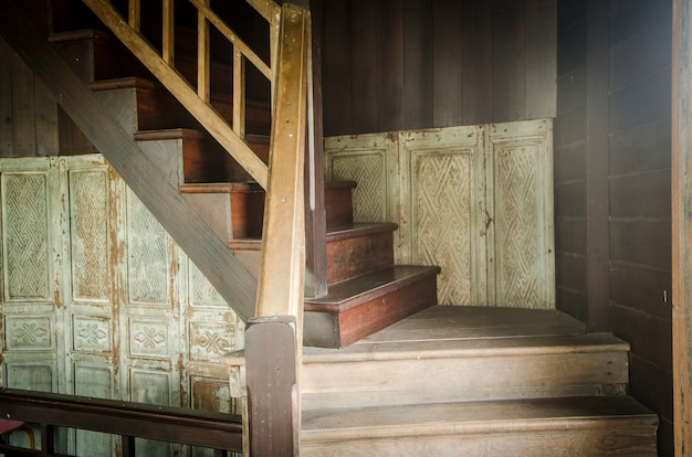 Vintage wooden staircase in california state capitol