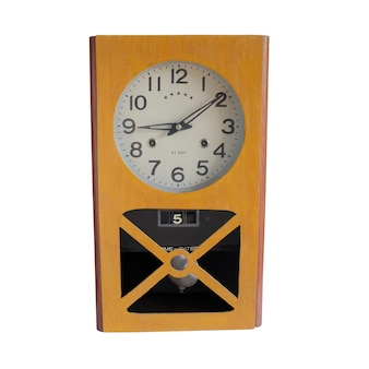Vintage wooden wall clock on white background.