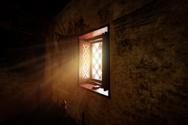Vintage wooden window and old wall