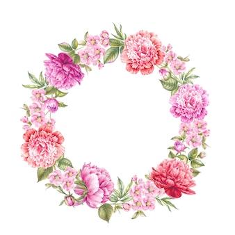 Vintage wreath of blooming roses.