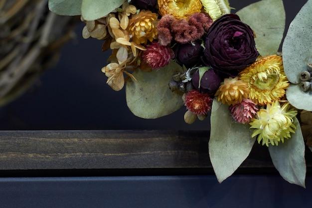 Vintage wreath of dried flowers