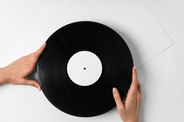 Vinyl disc in retro style concept with copy space