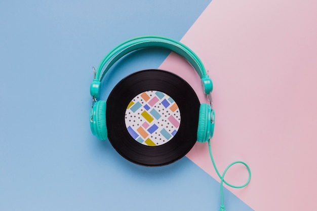 Vinyl disc with headphones