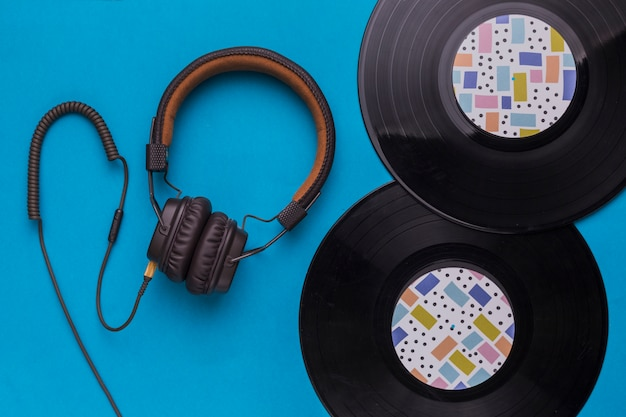 Vinyl discs with headphones