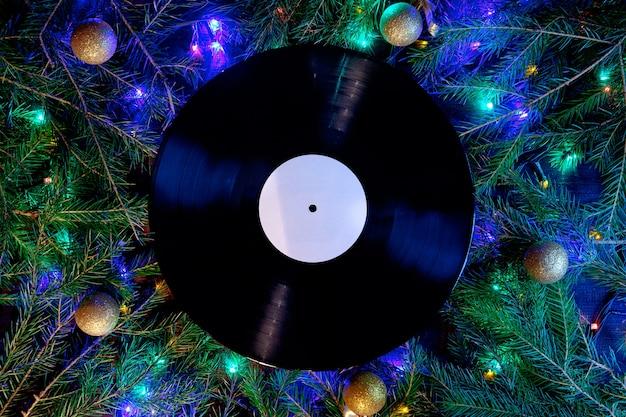 Vinyl gramophone record in christmas style