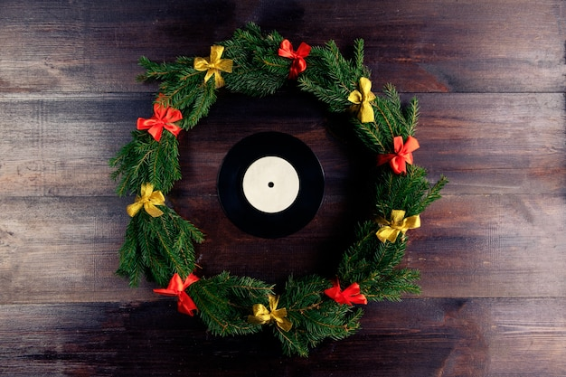 Vinyl gramophone record in christmas style
